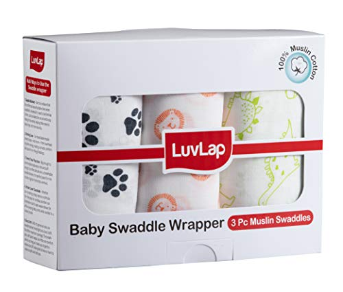 LuvLap Baby Swaddles Animals (White)