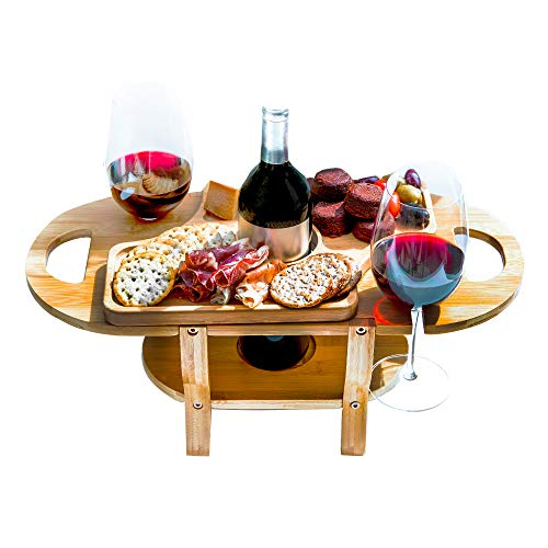 - Wine and Cheese Board with Removable Cheese Tray by Banana Bamboo Wine Glass Holder Gift Wine and Cheese Caddy