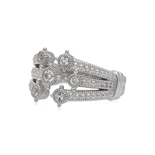 Judith Ripka Crystal Ring - JUDITH RIPKA Santorini White Topaz Multi Band Bypass Ring