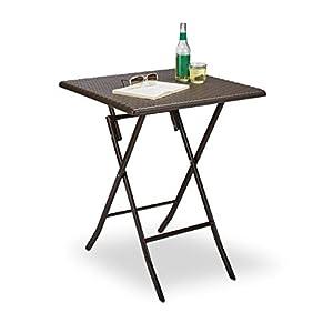 Relaxdays 10020057 Table pliante de jardin carrée Camping pliable BASTIAN en aspect rotin Terrasse HxlxP: 74 x 61,5 x 61…