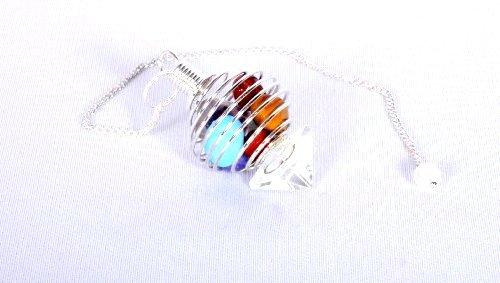 Jet 7 Chakra Tumbled Cage Pendulum Free Booklet Jet International Crystal Therapy Healing Dowsing Crystal ()
