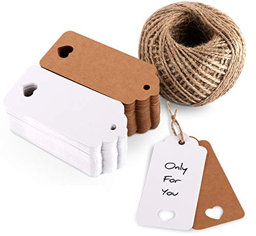 ilauke 200pcs Kraft Paper Gift Tags 9X4cm with 65 Yards Natural Jute Twine Hang Tags for Arts and Crafts Party Wedding Christmas Thanksgiving - Small Heart Hang Tags