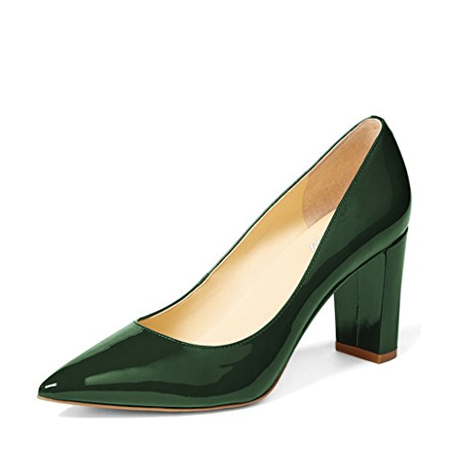 YDN Women Classic Pointed Toe Chunky High Heel Patent Leather Slip On Office Lady Pumps Shoes Dark Green 6 ()