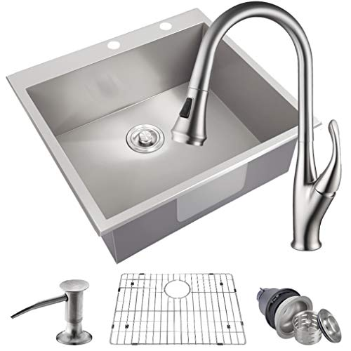 "MOWA HMT2522 25"" x 22"" Pro Series Handmade 16 Gauge Stainless Steel Top Mount Drop In Single Bowl Kitchen Sink w/Sink Bottom Grid, Basket Strainer, Brushed Nickel Pull-down Faucet & Soap Dispenser"