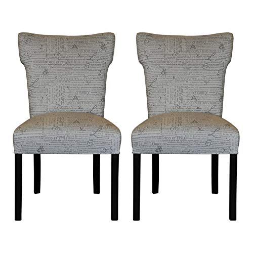 Sole Designs Bella Collection Modern Wingback Upholstered Dining Chair, Spring Seating Slipper/Side Chair, News Stamp Series, Storm (Set of 2)
