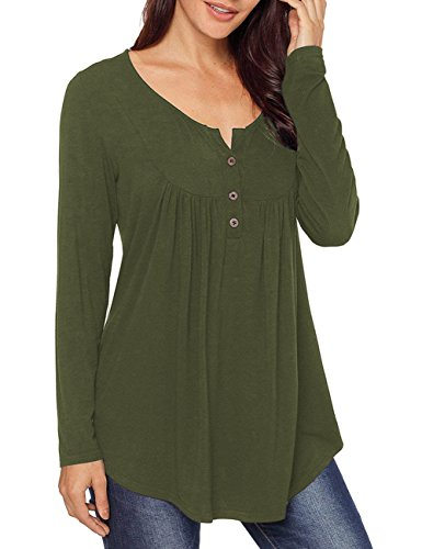 MEROKEETY Women's Casual Button up Long Sleeve Henley Shirt Flowy Tunic Tops...