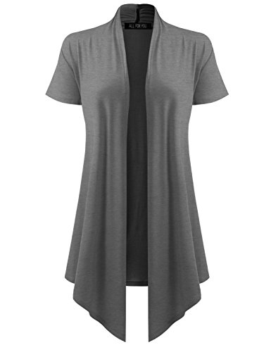 (ALL FOR YOU Women's Soft Drape Cardigan Short Sleeve Charcoal Large )