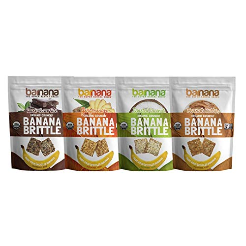 Barnana Organic Crunchy Banana Brittle - Variety Pack, 3.5 Ounce (4 Count) - Healthy Vegan Cookie Style Dessert Snack - Made with Sustainable, Eco Friendly Upcycled -