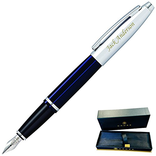Custom Fountains - Dayspring Pens - Engraved / Personalized Cross Calais Fountain Gift Pen with Case - Blue AT0116-3. Custom Engraved Fast!