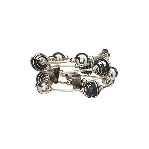 Batari Handmade Glass Beaded Coil Wrap Bracelet Multi Strand