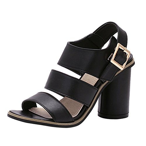 Women Gladiator Ankle Cylinder High Heels Sandals by Dear Time Black AvkOspkY3