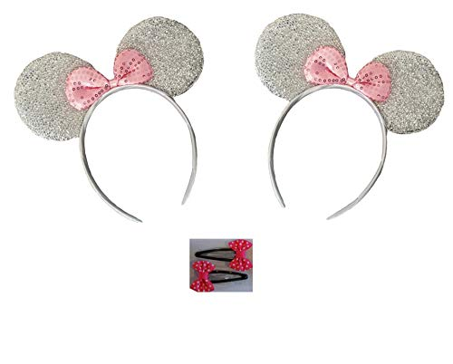 Mickey/Minnie Mouse Style Ears Headband for Boys Girls, Parties, Disneyland (Sparkling Silver with Pink Bow/Bow Tie Hair Clips (2 Pack)) -