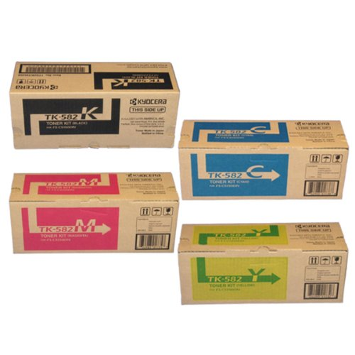 Kyocera Part# TK582C. TK582K. TK582M. TK582Y OEM Toner Cartridge Set by Kyocera