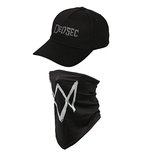 [Dedsec Hat WD Baseball Snapback Cap and Mask Set Cosplay Accessories XCOSER] (Baseball Costume Accessories)