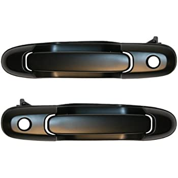 1998-2003 Toyota Sienna Front Black Outside Outer Exterior Door Handle with Keyhole Pair Set Left Driver AND Right Passenger Side (1998 98 1999 99 2000 00 ...