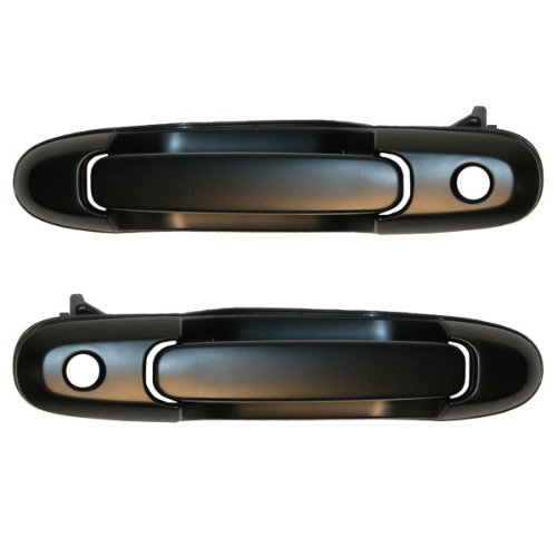 (1998-2003 Toyota Sienna Front Black Outside Outer Exterior Door Handle with Keyhole Pair Set Left Driver AND Right Passenger Side (1998 98 1999 99 2000 00 2001 01 2002 02 2003 03))