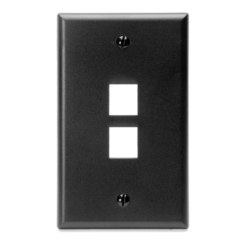 Leviton 41080-2EP QuickPort Wallplate, Single Gang, 2-Port,