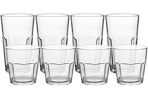 8Pack Unbreakable Rocks Glasses, Old Fashioned Drinking Glasses, 100% Clear Tritan Shatterproof Tumblers, Stackable Reusable Glassware Set for Juice Beer Water, BPA Free, Dishwasher Safe by YINGANG (Image #7)
