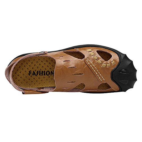 Casual Brown Mules Genuine Jamron Sandals Men's Sport Leather Closed Summer Toe Clogs Slippers 1wSqBZ8
