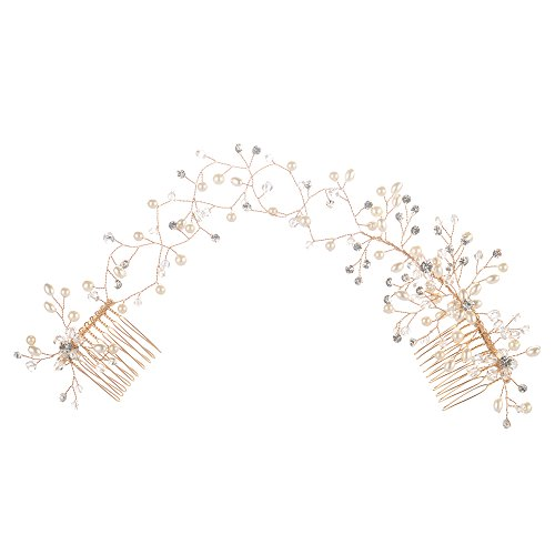AWEI BRIDAL Wedding Pearl Hair Side Comb Sparkles Branch Prom Hair Accessories Handmade Vintage Bridal Hair Vine