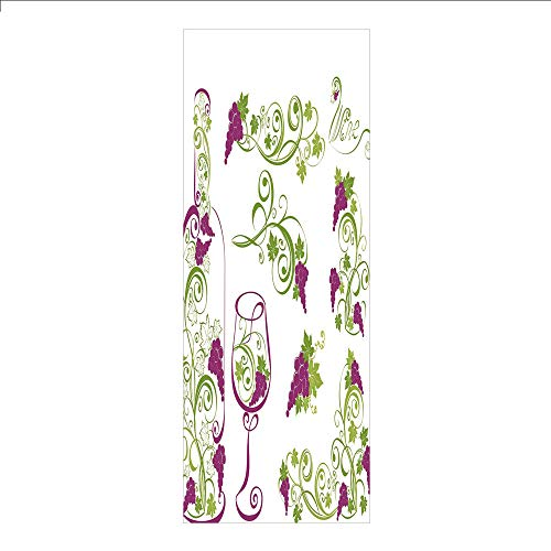 (3D Decorative Film Privacy Window Film No Glue,Wine,Wine Bottle and Glass Grapevines Lettering with Swirled Branches Lines Decorative,Purple Lime Green White,for Home&Office)