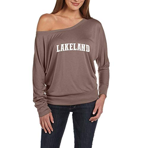 Florida Lakeland Home Traveler`s Gift Women's Flowy Long Sleeve Off Shoulder Tee (MPBR) Pebble Brown ()