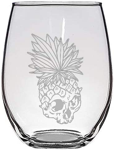 Tropical Summer Pineapple Skull Leaf Fire Eyes Punk Fruit Design - Laser Engraved Stemless Wine Glasses