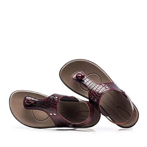 Pelle a Doppio con Impresso Sandali Rosso Vino Sandali Coccodrillo Motivo Rilievo in da Uomo e Scarpe Punta da Casual Traspiranti in Spiaggia Pantofole Sandali Uso qHfwE