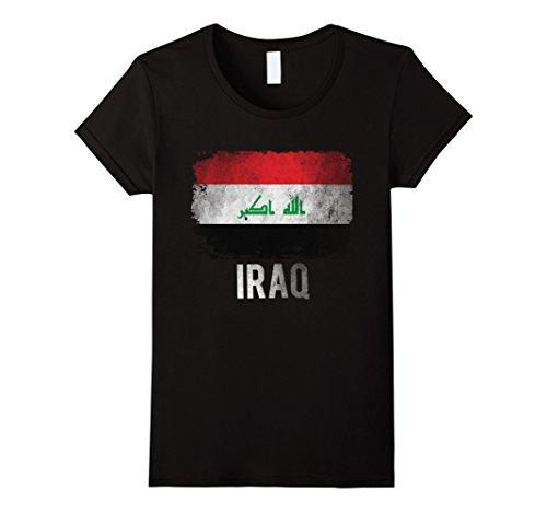 Women's Iraq Flag Shirts Vintage Distressed T-Shirt Iraqi Shirt. Large Black
