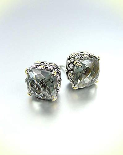 Designer PETITE Silver Gold Balinese Filigree Smoky Gray CZ Crystal Earrings For Women Set