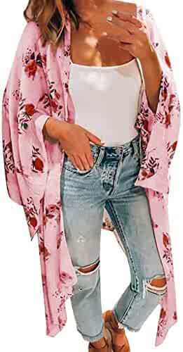iSkylie Womens Blouse Chiffon Shawl Printed Kimono Cardigan Top Cover Up Blouse Open Front Beachwear Marker Boards