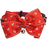 Pet collar with Bow Tie removable Peach heart bell for dogs cats and small animals pet decoration