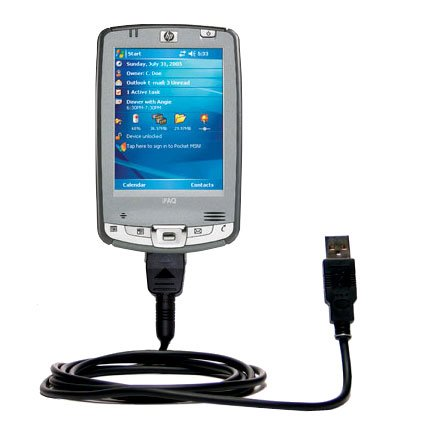 USB Data Hot Sync Straight Cable designed for the HP iPAQ hx2495 / hx 2495 with Charge Function _ Two functions in one unique Gomadic TipExchange enabled cable