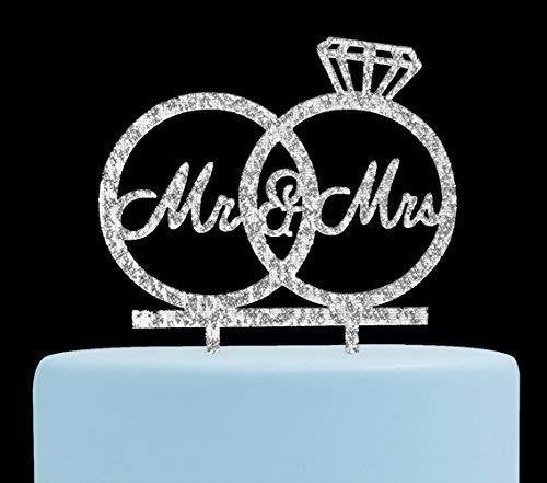 Decoración para tarta Mr & Mrs para novio y novio, anillos de aniversario de boda, decoración para fiestas de compromiso...