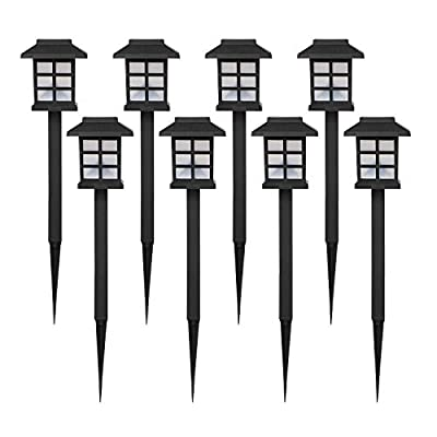 nekepy Solar Lights Outdoor, Stainless Steel Powered Pathway Waterproof Landscape Light for Patio Walkway Driveway Garden Yard, 8 Pack ...