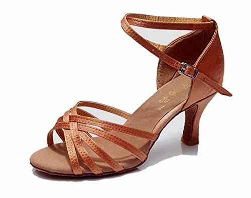 YFF Women's Ballroom Latin Tango Salsa Dance Schuhe Heels Satin Sandalen, 7 cm Braun, 4.5