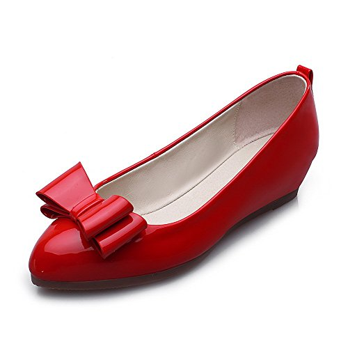 AllhqFashion Mujer Sólido Pu Mini Tacón Puntera Redonda Puntera Cerrada Sin cordones De salón Rojo