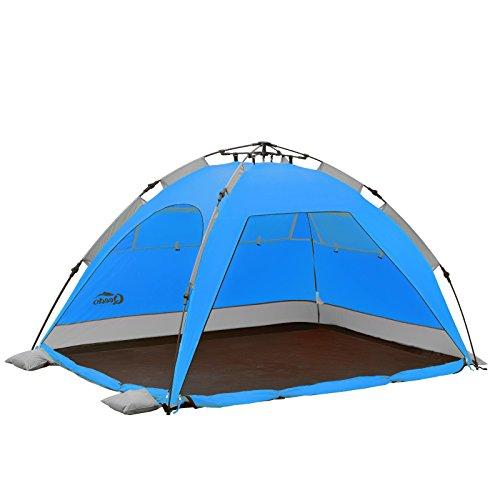 Qeedo Quick Palm Strandmuschel - blau mit UV-Schutz kleines Packmaß - schnell aufzubauender Sonnenschutz
