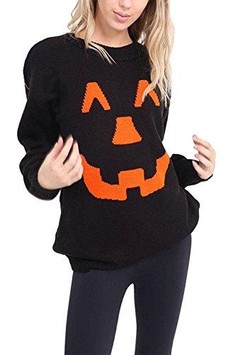 Ladies Unisex Pumpkin Print Halloween Retro Sweater Mens Novelty Jumper Top#(Black Halloween Pumpkin Print Jumper #Medium/Large US 10-12#Womens/Mens)