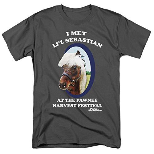 Popfunk Parks & Rec Pawnees Horse Lil Sebastian Charcoal Gray T Shirt & Stickers (XX-Large)