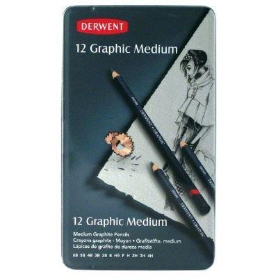 12-Pencil Tin Set Medium (Product Catalog: Writing & Drawing Mediums) (Graphic Drawing Pencils Medium compare prices)