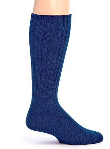 Warrior Alpaca Socks – Women's Ribbed Casual Everyday Alpaca Wool Crew Socks (Medium, Blue)