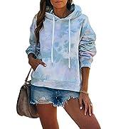 REVETRO Women Tie Dye Sweatshirt Casual Long Sleeve Drawstring Pullover Hoodie Tops with Pocket