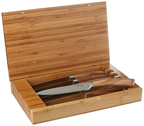 La Cote 6 Piece Steak Knives Set Japanese Stainless Steel Olive Wood Handle In Bamboo Storage Box (Olive Wood) by La Cote Homeware (Image #3)