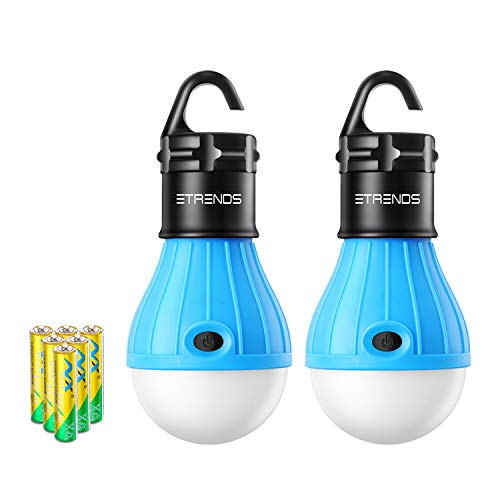 E-TRENDS 2 Pack Portable LED Lantern Tent Camp Light Bulb for Camping Hiking Fishing Emergency Lights, Battery Powered Lamp with 6 AAA Batteries, Blue (Truck Camp Right Tent)