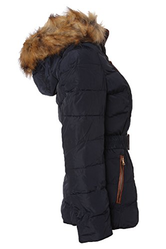 Damen Steppjacke Winterjacke mit vielen Details & Fellkapuze Dunkelblau Q4u4Rbzf