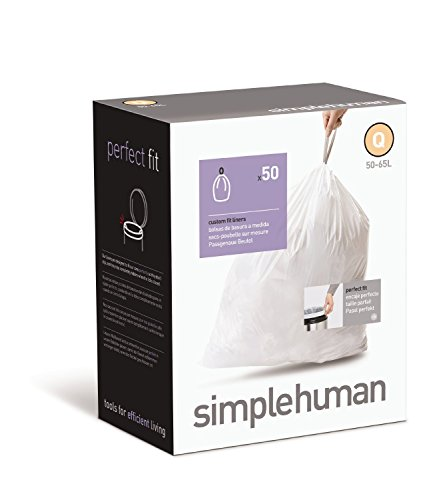 simplehuman Custom Fit Trash Can Liner J, 30-40 L / 10-10.5 Gal, 50-Count - Grocery Simple Bag Human Holder