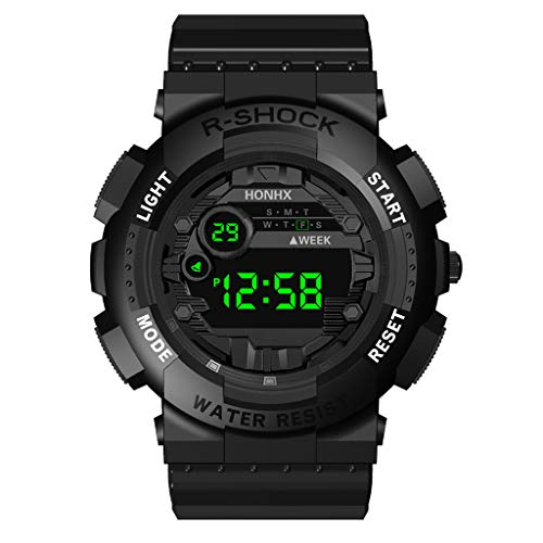 Men's Digital Sports Watch Waterproof Tactical Watch with LED Backlight Watch 12H/24H Stopwatch Countdown Wrist Watch (Black) (Mens Resin Stopwatch)