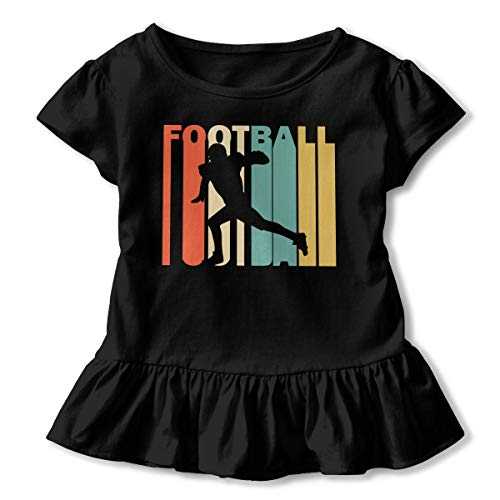 Short Sleeve Retro Style American Football Player Silhouette Silhouette Shirts for Girls, Casual Sweatshirt with Falbala, 2-6T Black