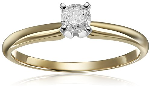 14k Round Solitaire Yellow Gold Engagement Ring (1/4cttw, H-I Color, I3 Clarity), Size 7 14k Yellow Gold Round Solitaire